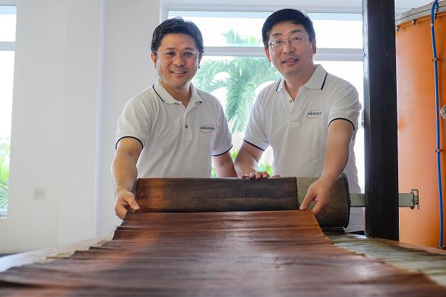 NTU Assoc Prof Darren Sun (right) and Managing Director Mr Wong Ann Chai (left) with Nano Sun's 3D-printed innovative multiuse membrane