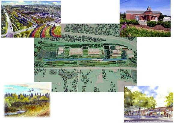 A series of impressions of the new plant; finished facility model (centre); artist's impression of the new public open space areas (top left); example of onsite building design (top right); artist's impression of the new wetland habitats (bottom left); the planned education building (bottom right).