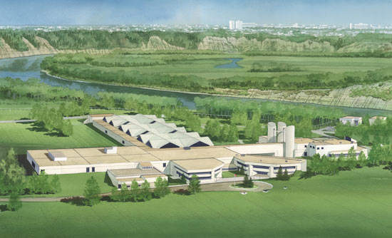 Artist's impression of the finished plant. The city of Edmonton lies some 11 miles downstream; the upgrading of the facility has provided a 25% increase in the available drinking water in the area.