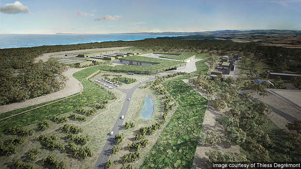 An artist's rendering of the main entry to Wonthaggi Desalination Plant.