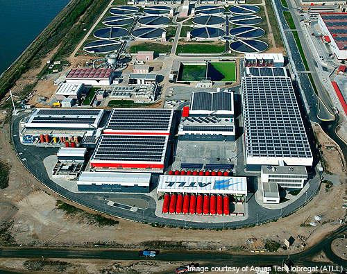 An aerial photograph of the Barcelona Desalination Plant.