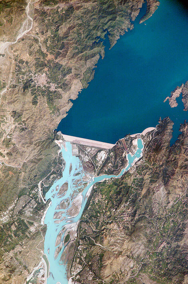 Satellite image of Tarbela Dam, the world's largest fill-type dam.