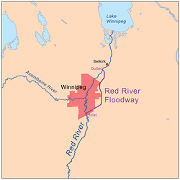The Red River floodway was built to protect the city of Winnipeg from flooding. Image courtesy of Kmusser.