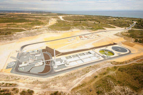 An aerial view of the Alkimos wastewater treatment plant, which is located 42km north-west of the Perth Central Business District in Western Australia.