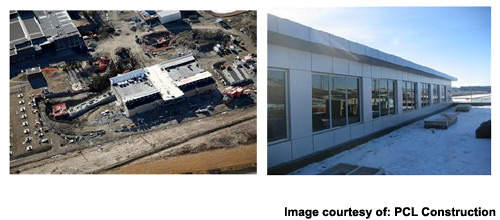The Bearspaw pre-treatment facility. Aerial view during construction (left) and ground view near completion (right).