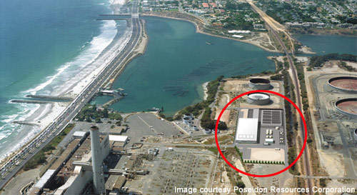 Aerial view of the Carlsbad desalination project in San Diego, California.
