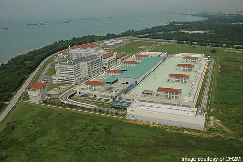 Changi Water Reclamation Plant is located at the eastern end of Singapore.
