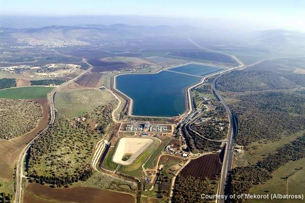 Aerial view of the central filtration plant at the Eshkol site.