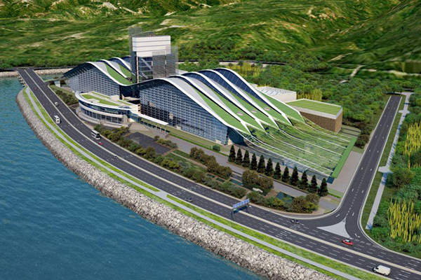 An artist's rendition of the Hong Kong sludge treatment facility. Image courtesy of Arup.