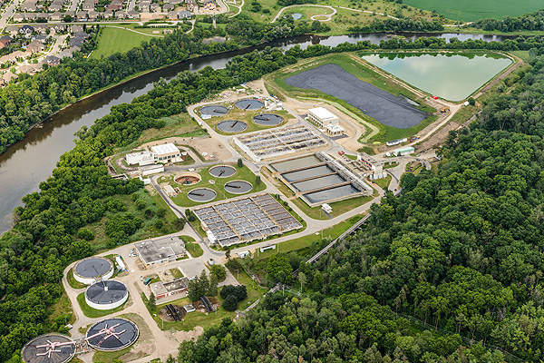 An overview of the Kitchener Wastewater Treatment Plant. Image courtesy of Region of Waterloo.
