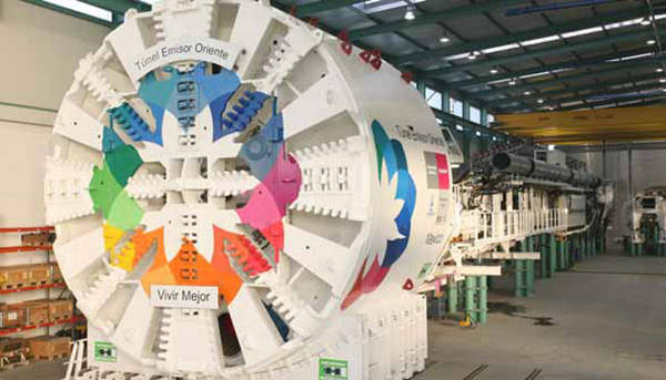 Tunnel Emisor Oriente is being built using six custom designed tunnel boring machines. Image courtesy of Herrenknetch AG.