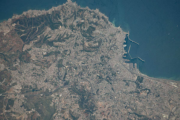The Fouka Desalination Plant covers the potable water needs of the western part of Algiers and the region of Zeralda. Pictured is a satellite image of Algiers.