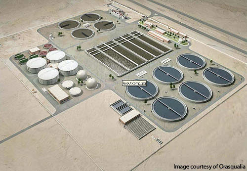 An artist's rendering showing layout of the New Cairo Wastewater Treatment Plant.