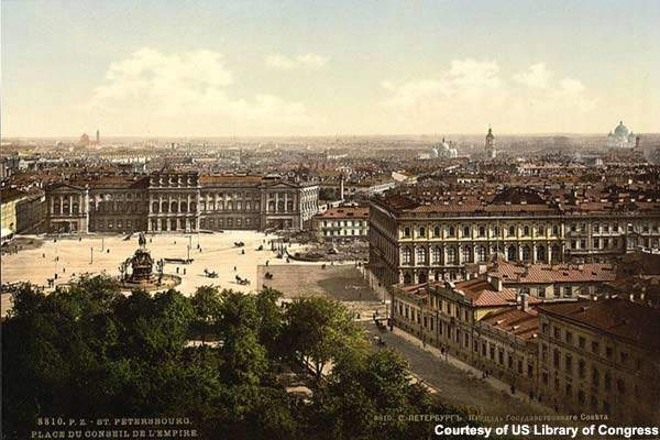 St Isaac's Square and the St Petersburg skyline in the 1890s.
