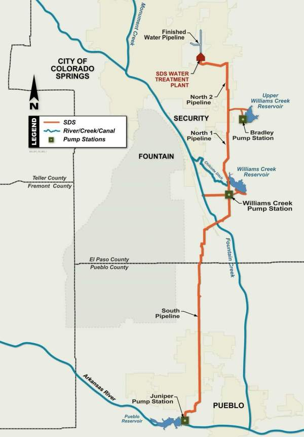 Diagram of the Southern Delivery System. Image courtesy of the City of Colorado Springs.