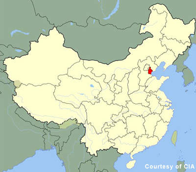 "Location map of Tianjin; The city is located on northern China's ""Gold Coast"" on the Bohai Gulf, some 140km to the southeast of Beijing."