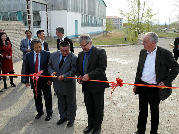Commissioning of the pilot UFZ wastewater treatment plant in May 2012. Image courtesy of Dr. Manfred Afferden / UFZ.