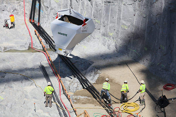 The first concrete for Folsom Dam's new auxiliary spillway control structure was poured on 24 May 2012. Image courtesy of USACE, photo by Michael J. Nevins.