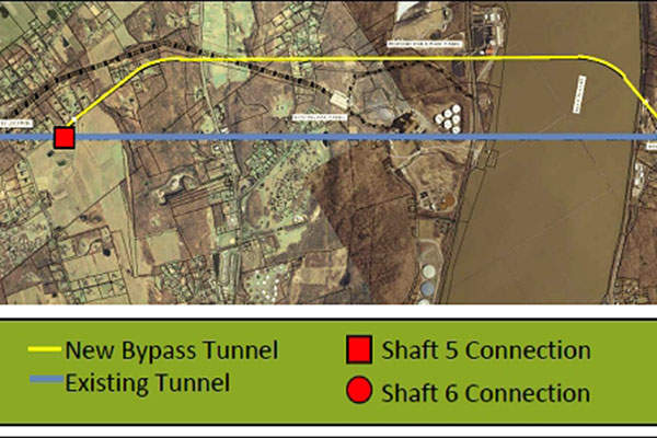 An illustration of the new bypass tunnel construction. Image courtesy of New York City (NYC) Department of Environmental Protection (DEP).