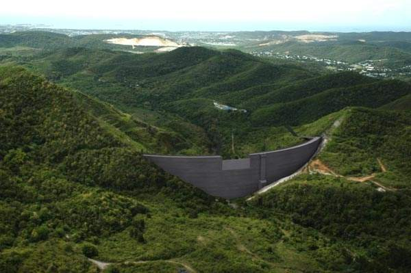Artistic rendering of the Portugues Dam in Puerto Rico. Image courtesy of US Army Corps of Engineers, Jacksonville District.