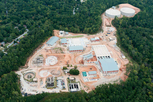 Aerial view of the Yellow River Water Reclamation Facility improvement project located near the city of Lilburn in Gwinnett County, Georgia, US. Image courtesy of Gwinnett County.