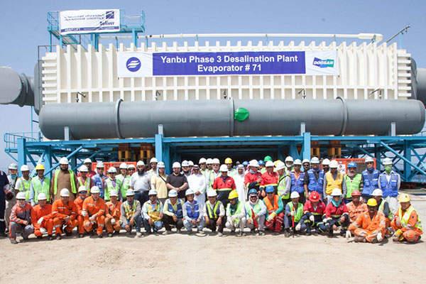 Almajdouie Logistics delivered evaporators at the Yanbu 3 Desalination Project. Image:  courtesy of Almajdouie Group.