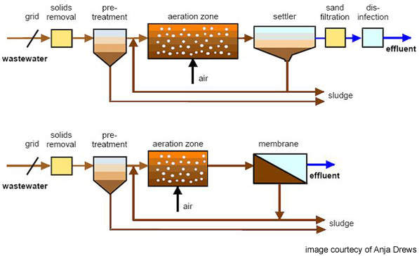 Schematic comparison between activated sludge systems (top) and MBR (bottom); the MBR at the Treburley plant has produced a permeate of consistently high quality.