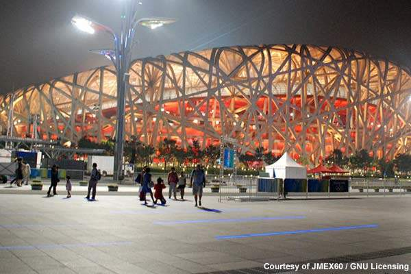 The Beijing Bird's Nest Stadium: Beixiaohe wastewater treatment plant supplied treated water for landscaping purposes at the  Olympic Park and treated all the wastewater from the Olympic Village during the Games themselves.