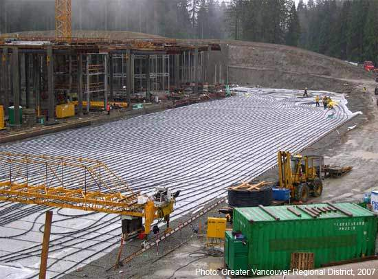 Geothermal piping was laid at the clearwells during mid-2005.