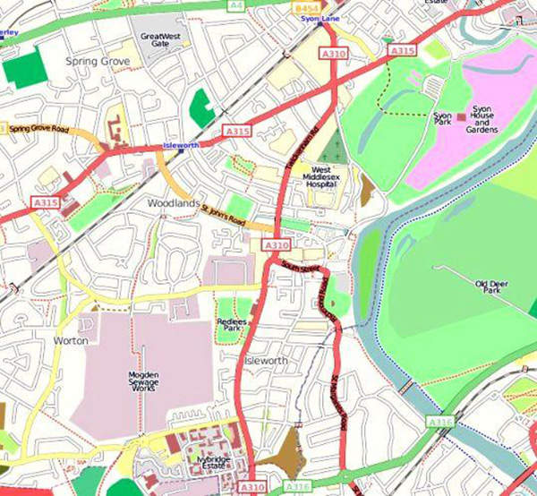 Mogden STW, located in Isleworth, covers an area of 120 acres. Image courtesy of Open Street Map.