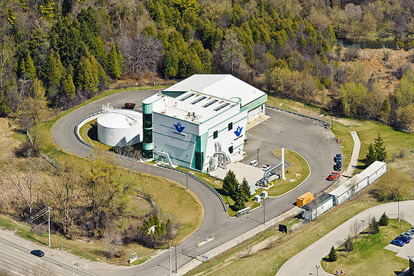 Aerial view of the new dewatering facility at Kitchener WWTP. Image courtesy of Region of Waterloo.