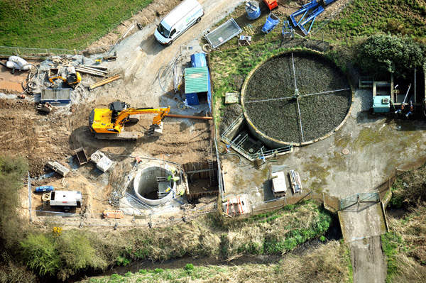 The old WWTP at Leswalt is being demolished and a new pumping station is being constructed as part of the project. Image courtesy of Scottish Water.