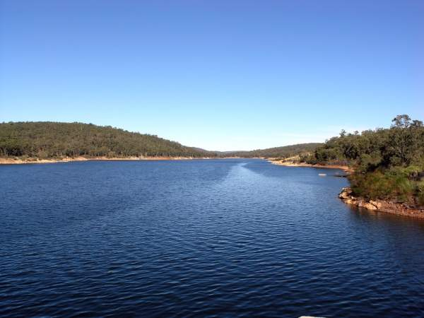 Lake O'Connor, a lake created by the Mundaring Weir, provides potable water for the towns situated along the pipeline to Kalgoorlie in Western Australia. Image courtesy of SeanMack.