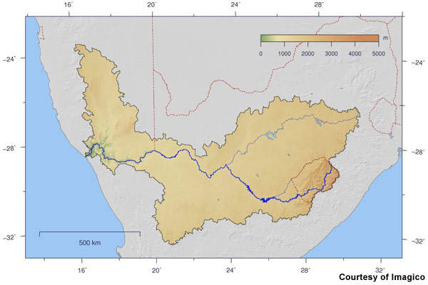 Orange River flows about 2,000km westwards from the Drakensberg mountain region of Lesotho through South Africa.