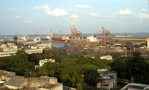 The port of Chennai; the city is the capital of Tamil Nadu state, India's fourth biggest city and the country's third largest commercial / industrial centre.