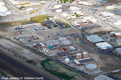 Spokane County Regional Water Reclamation Facility is constructed on a site located in the eastern industrial area of Spokane.