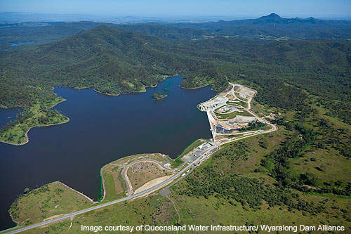 Aerial view of the Wyaralong dam site.