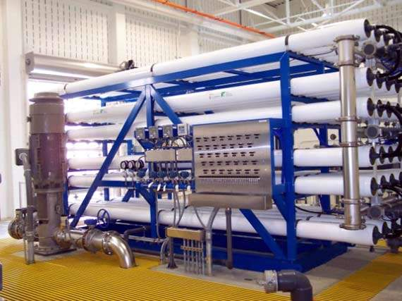 The plant uses Reverse Osmosis (RO) membranes to desalinate brackish groundwater to potable quality.