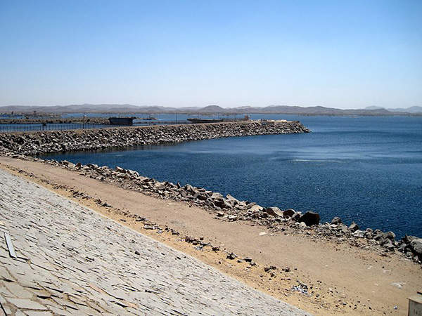 The reservoir created by the Aswan High Dam forms Lake Nasser. Image courtesy of Olaf Tausch.