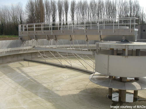 Sedimentation tanks, like the one shown here, are used primarily on site.