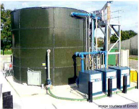 The installation at Treburley; effluent is screened, treated and then stored before reuse.
