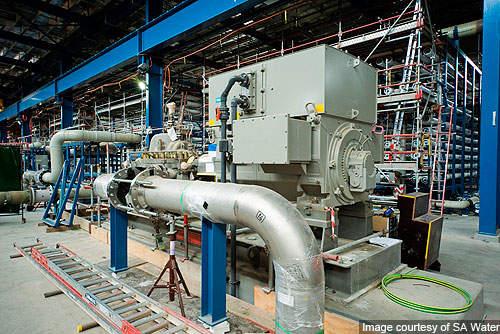 High pressure pump supplying salt water to the reverse osmosis racks.