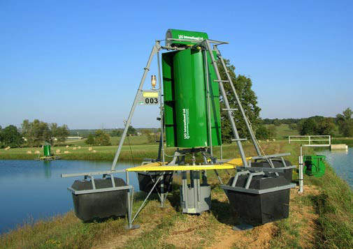 A Mark 3 aerator / processor unit out of the water. At Holkham there are two, each equipped with a backup motor.