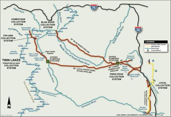 Diagram of the existing Colorado Water System along with the Southern Delivery System. Image courtesy of the City of Colorado Springs.