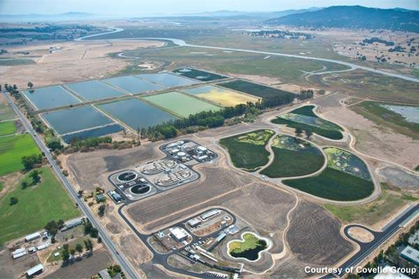 A 30-acre polishing wetland, divided into four ponds, was built at the site.