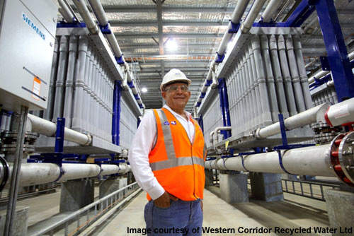 Construction and operations director Gus Atmeh at Bundamba advanced water treatment plant.