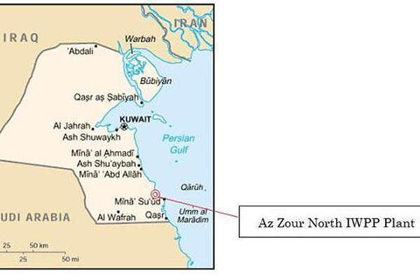 The project site is located in Az-Zour, approximately 100km south of Kuwait City. Image courtesy of Sumitomo Corporation.