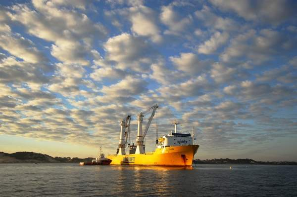 The heavy lift vessel Happy Buccaneer was engaged to position the seawater intake towers on the seabed. The second stage of the SSDP is expected to come online in December 2012. Image courtesy of Water Corporation.