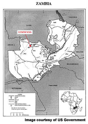 Location of Lumwana on the minerals map of Zambia.