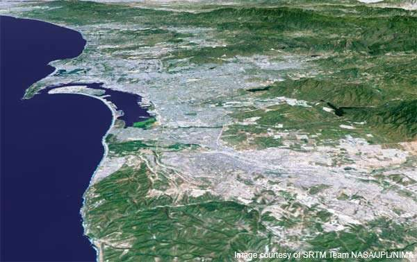 Computer-generated perspective of the San Diego area viewed from the south, showing the influence of topography on growth.